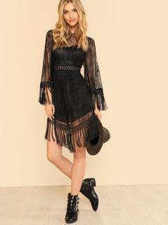 Lace Insert Tassel Detail Dress