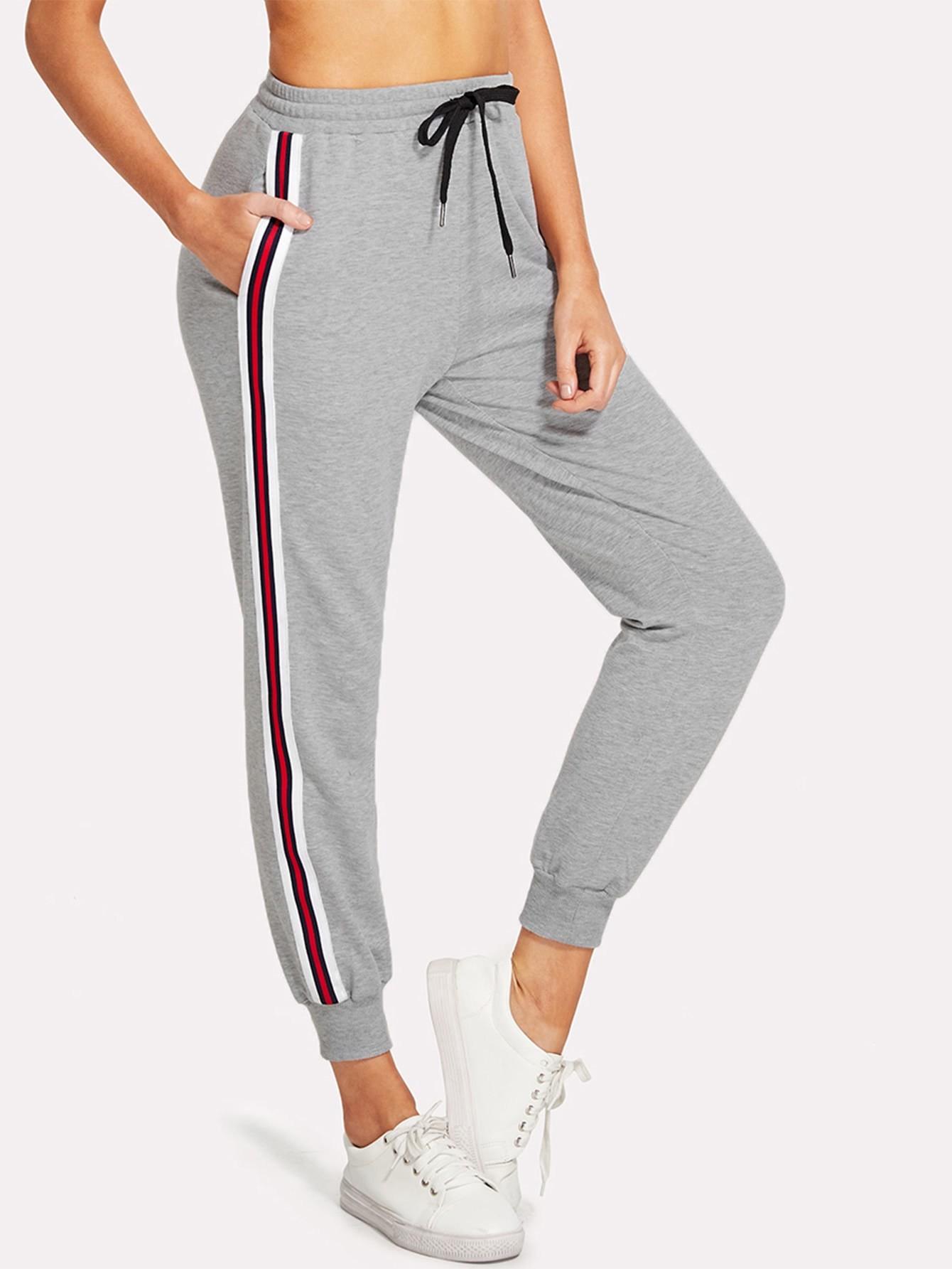 Striped Tape Side Drawstring Sweatpants striped tape side cuffed pants
