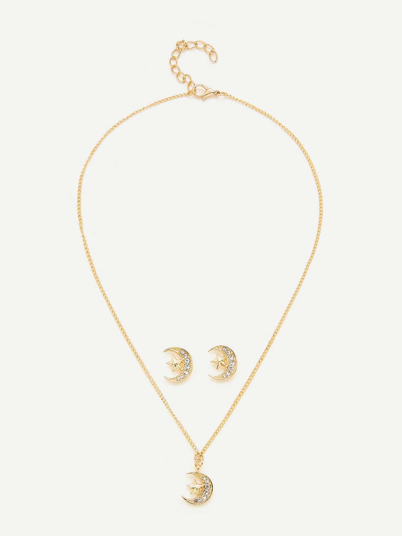 Moon & Star Pendant Necklace & Earring Set er 3789 stylish retro jewelled pendant earring navy blue 2 pcs