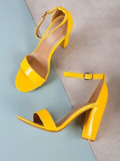 Patent Single Band Ankle Strap Chunky Heel YELLOW