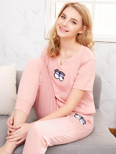 Cartoon Eye Print Tee & Pants PJ Set