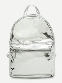 Zipper Pocket Front PU Backpack
