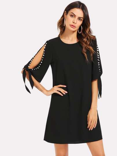 Pearl Detail Tie Cuff Tunic Dress