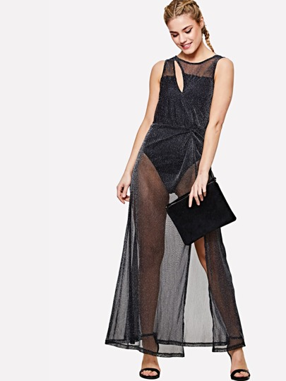 Romwe / Slit Front Transparent Glitter Dress