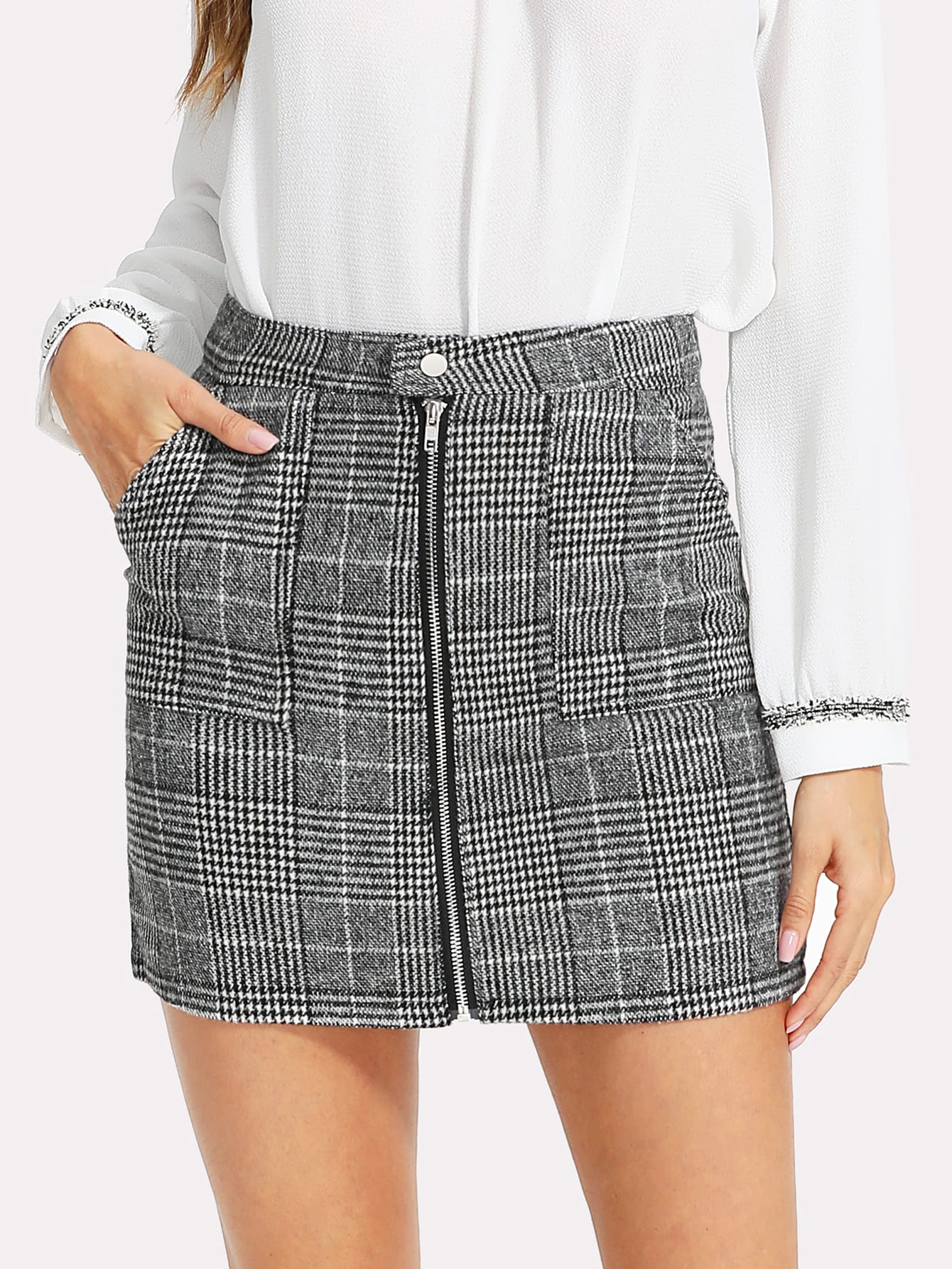 Zip Front Dual Pocket Plaid Skirt zip back fit and flared plaid dress