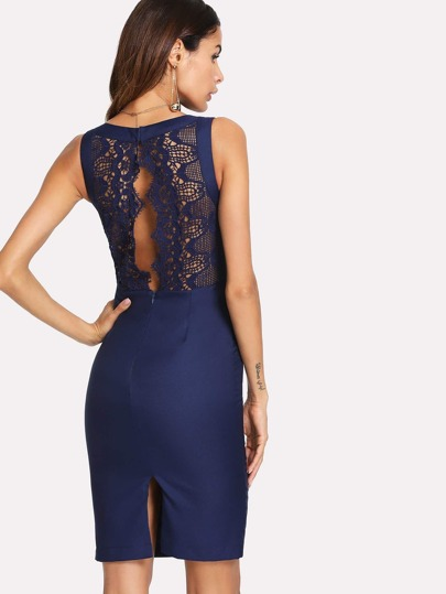 Contrast Scalloped Eyelash Lace Dress