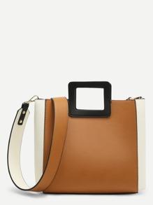 Two Tone Buckle Design PU Bag