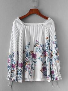 Flower Print Striped Blouse