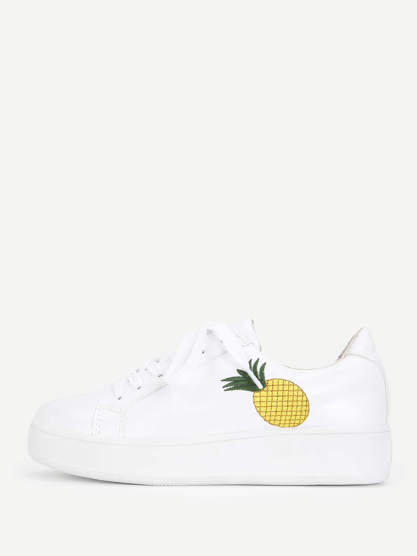 Pineapple Embroidery Lace Up Sneakers