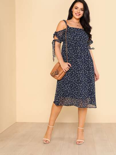 Cold Shoulder Tied Sleeve Floral Dress