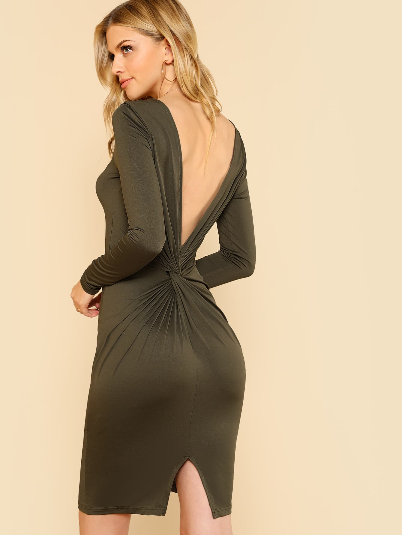 Twist V Back Fitted Dress open back fitted
