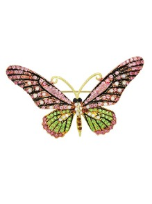 Hotpink Rhinestone Butterfly Brooch