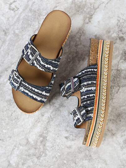 Weaved Double Buckle Flatform Sandal with Beaded Trim BLUE MULTI