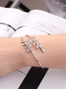 Rhinestone Leaf Wrap Bangle 1pc