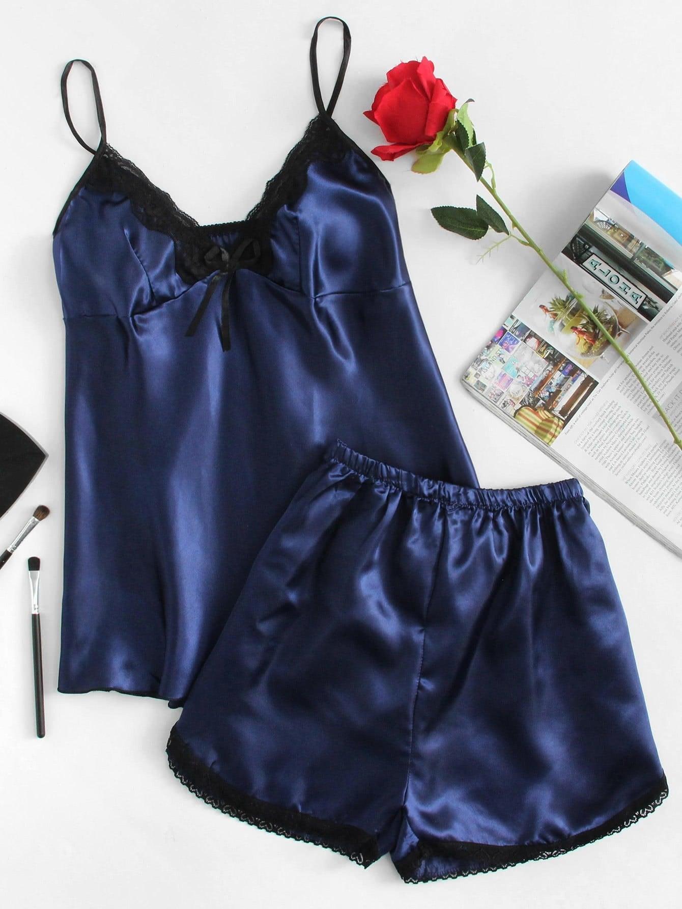 Lace Detail Cami And Shorts Pajama Set contrast lace cami with shorts pajama set