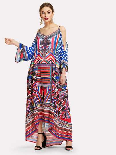 Cold Shoulder Geo Print Tent Dress