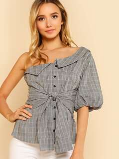 One Shoulder Glen Plaid Button Up Top with Bubble Sleeve and Tie Waist GREY