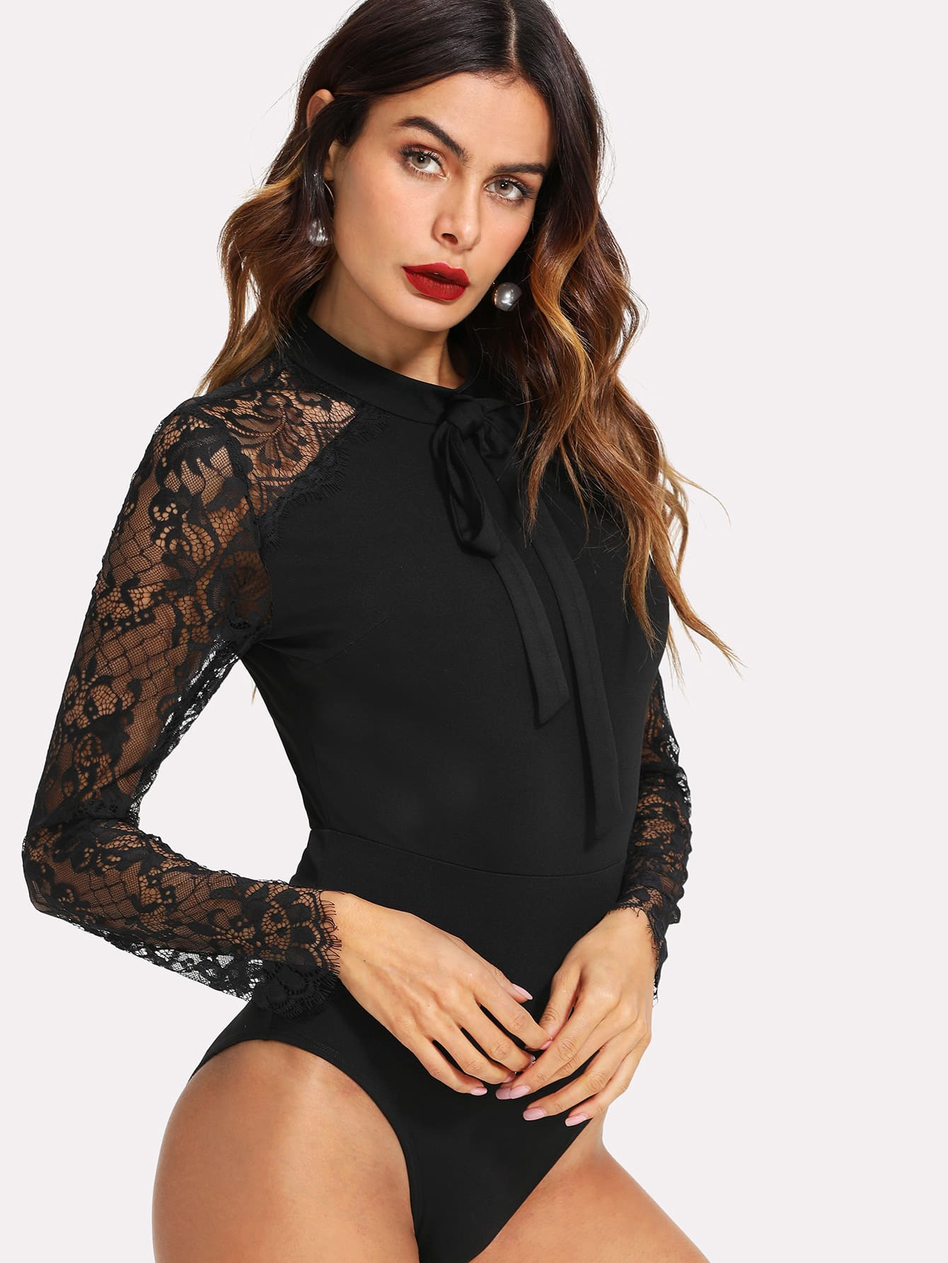 Tie Neck Lace Panel Sleeve Bodysuit embroidered lace panel bodysuit