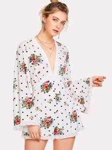 Flower And Polka Dot Print Romper