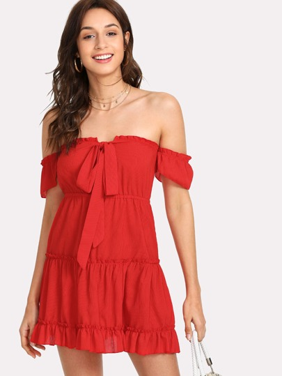 Self Tie Off The Shoulder Dress