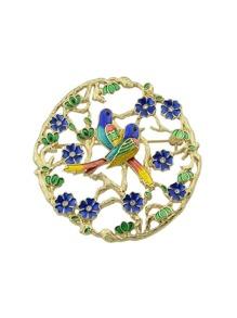 Enamel Branch Flower Bird Round Brooch