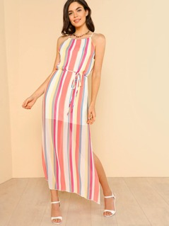 High Neck Striped Sheer Slit Dress with Tie Waist CORAL