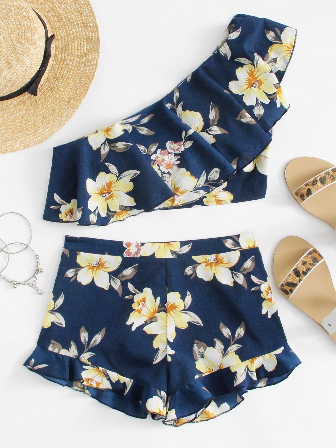Купить Модный комплект на одно плечо с цветочным принтом, null, SheIn