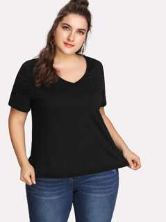 Plus V Neck Solid Top