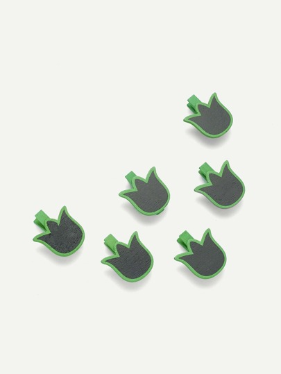 Leaf Shape Blackboard Wooden Clips 6 Pcs