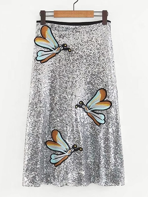 Dragonfly Embroidery Sequin Skirt