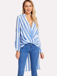 Twist Front Striped High Low Top