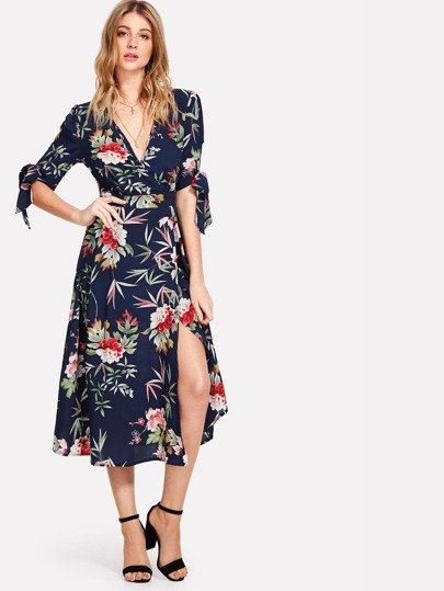 Tie Sleeve Wrap Floral Dress