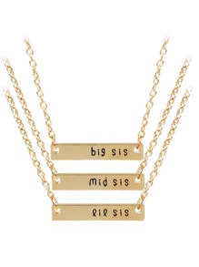 Bar Pendant Chain Necklace 3pcs
