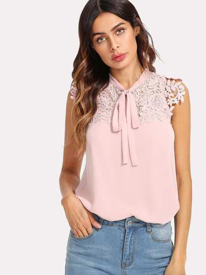 Guipure Lace Applique Tied Neck Top