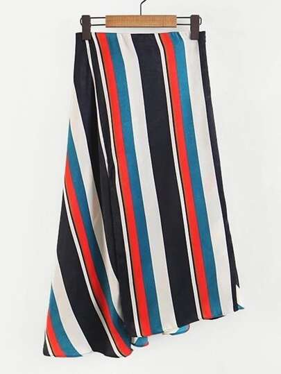 Asymmetrical Striped Skirt