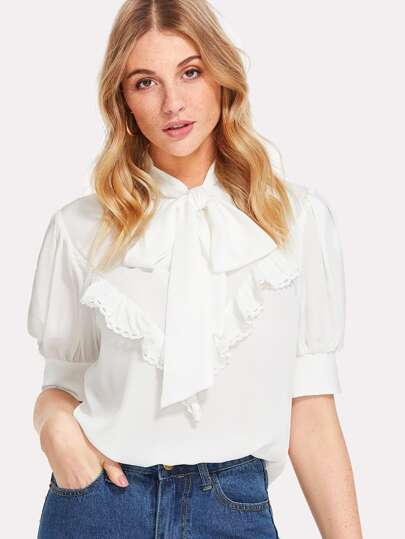 Ruffle Embellished Tied Neck Blouse