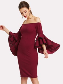 Layered Trumpet Sleeve Bardot Dress