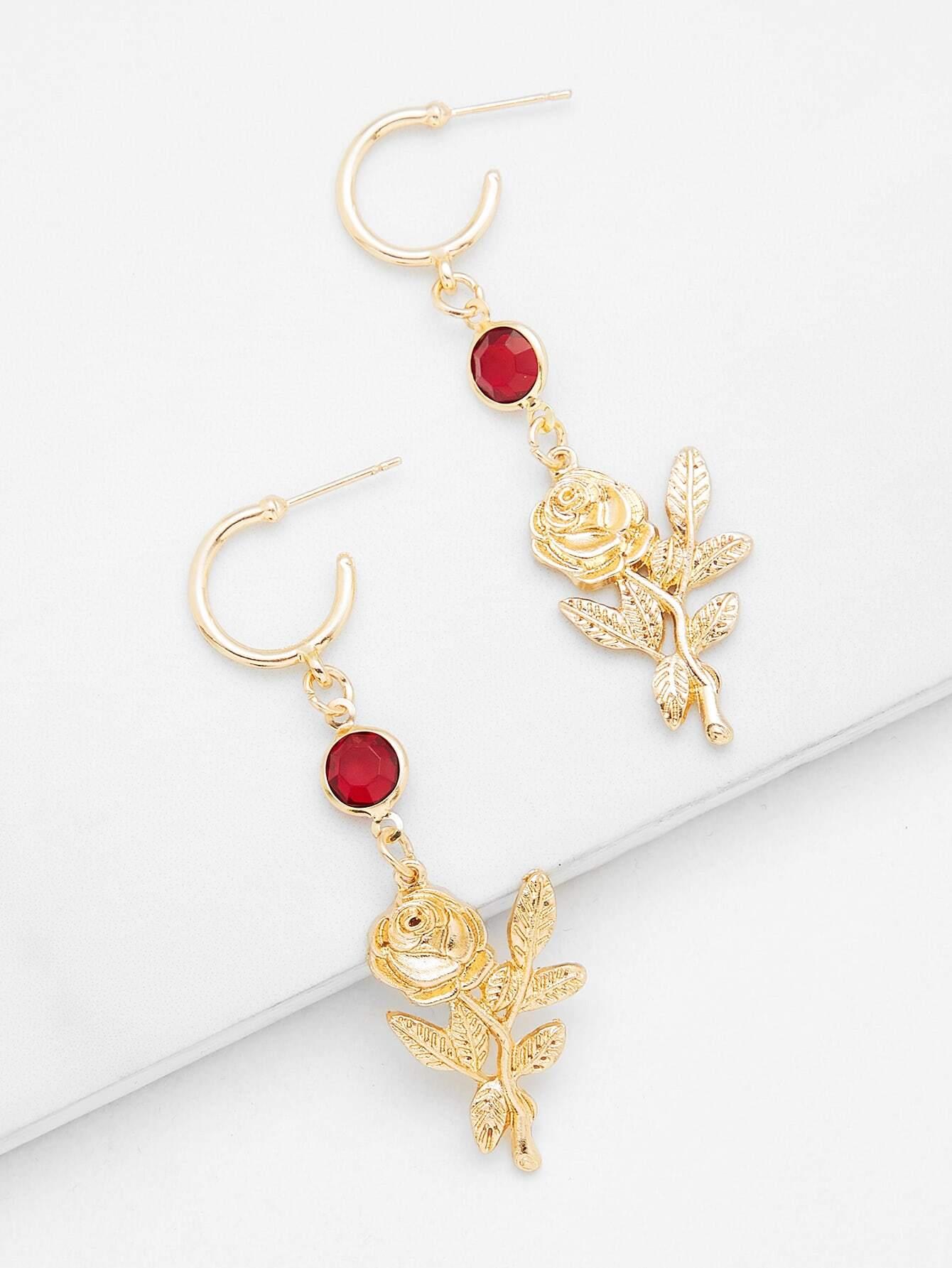 Rose & Rhinestone Design Drop Earrings rose drop earrings