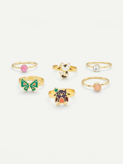 Cat & Butterfly Design Ring Set