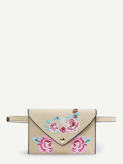 Flower Pattern PU Bum Bag