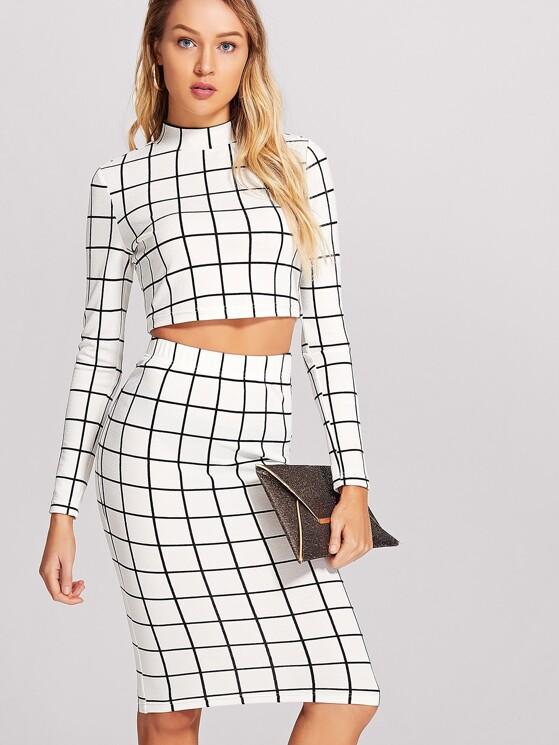648273084 Crop Grid Top & Pencil Skirt Co-Ord | MakeMeChic.COM