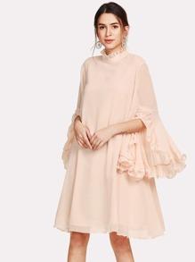 Frill Sleeve And Cuff Flowy Dress