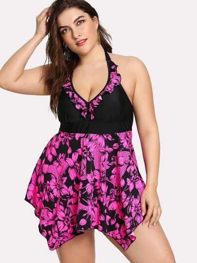 Flower Print Ruffle Swim Dress Set