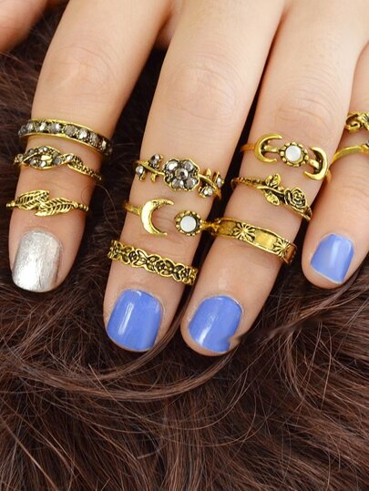 At-Gold 11Pcs/Set Moon Flower Leaf Jewelry Rings