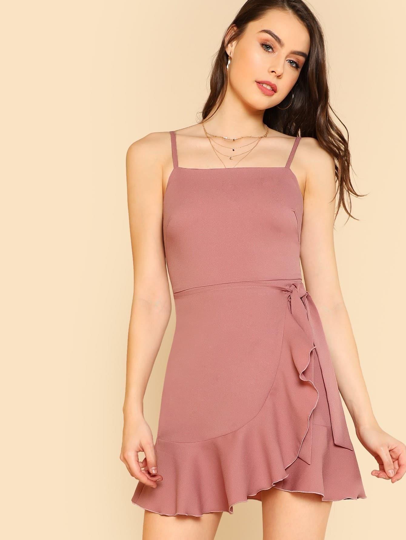 цена на Ruffle Trim Overlap Hem Cami Dress