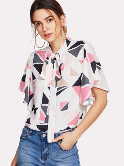Tie Neck Geometric Print Flutter Sleeve Top