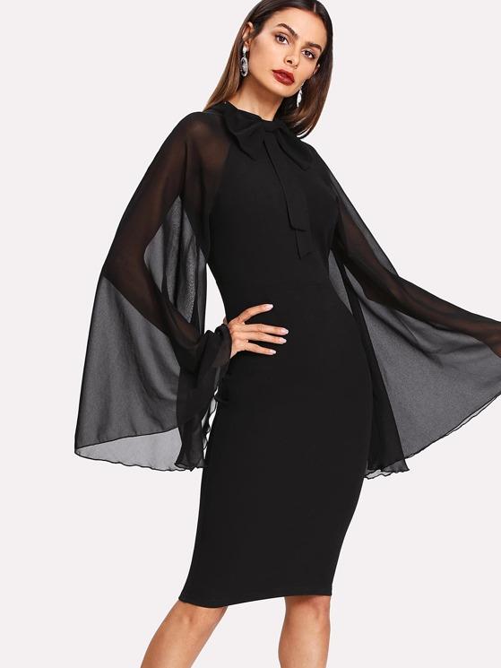 adb094038568 Bow Tie Neck Exaggerate Mesh Raglan Sleeve Pencil Dress | MakeMeChic.COM