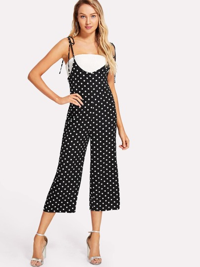 Self Tie Shoulder Polka Dot Cami Jumpsuit