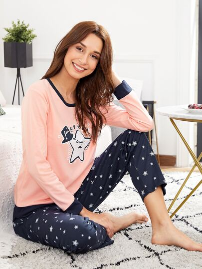 Star Print Pullover & Pants PJ Set