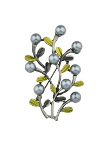 Gray Simulated-Pearl Flower Branches Brooch